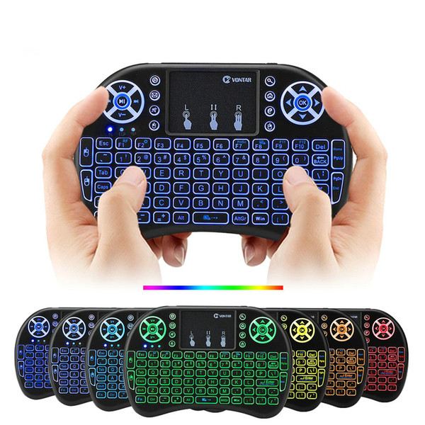 best selling 7 Colors Backlit i8 Mini Wireless Keyboard 2.4G Air Mouse Remote Control Touchpad Backlight With Rechargeable Battery For Android TV Box