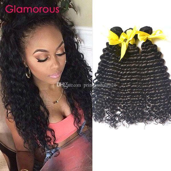 Estensioni dei capelli glamour indiano malese peruviano economici estensioni dei capelli umani più venduti vergine brasiliana dei capelli dell'onda profonda tessuto 3 pacchi