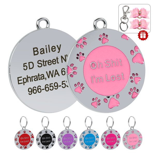 Pet Puppy Tag Cat Name ID Tag Personalized Tags Engraved Stainless Steel Anti-lost Dog Collar Pendant Dog Accessories
