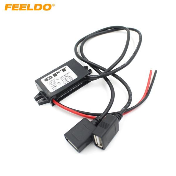 FEELDO Araba DC Dönüştürücü 12 V için 5 V 3A Çift 2 USB Otomatik Güç Regülatörü Gerilim Adım Aşağı # 1593