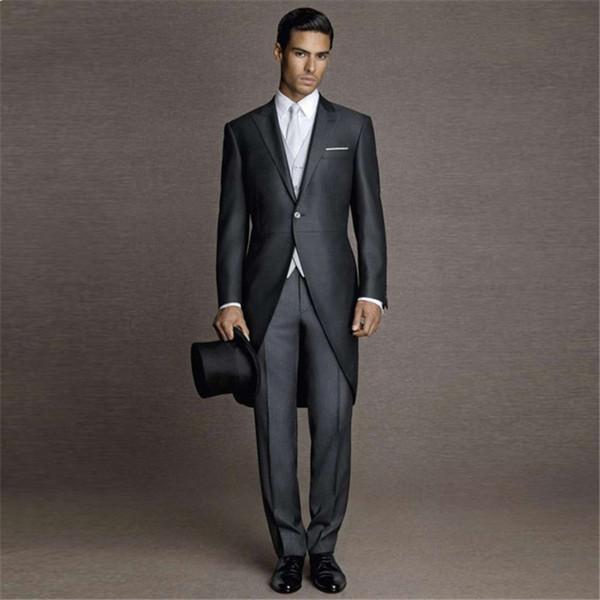Tailored Made Customize Black Morning Tailcoat Formal Men Suit Wedding Mens Blazer Tuxedo Morning Man Suit Party 3 Pieces