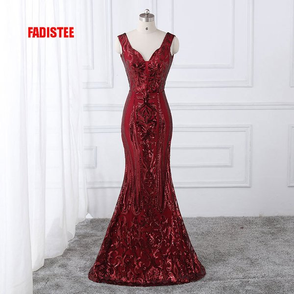 Fadistee New Arrival Classic Party Dress Evening Dresses Prom Bling Vestido De Festa Luxury Pattern Sexy V-neck Sequins Style Y190525
