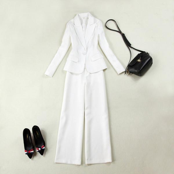 New fashion women's women's white slim single button suit two-piece suit (jacket + wide leg pants) women's business formal suit