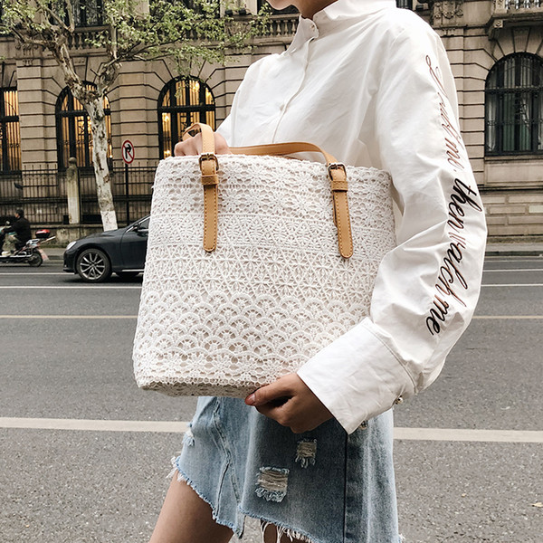 2019 Fashion New Handbag High Quality Canvas Women Tote Bag Lady Lace Shoulder Bag High-capacity Women's Designer Shopping Bags