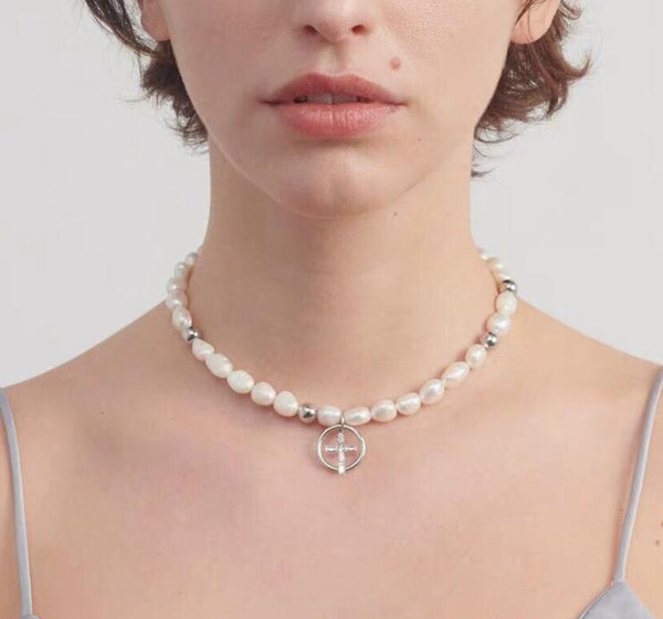 best selling justine clenquet Baroque Pearl Cross Necklace Fashion hip hop men's and women's Necklace