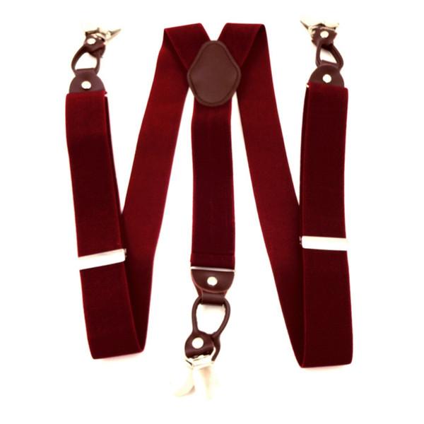 Mens 6 Clips Suspenders Adjustable Vintage Formal Commercial Suit Braces
