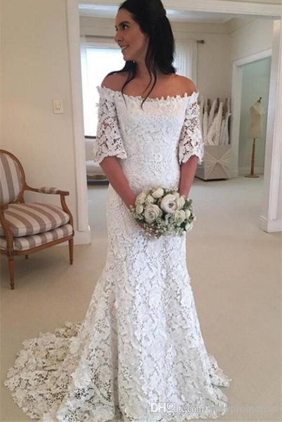 Lace Off Shoulder Wedding Dresses Half Sleeves Mermaid Bridal Gowns Sweep Train Zipper Back Wedding Vestidos 2019