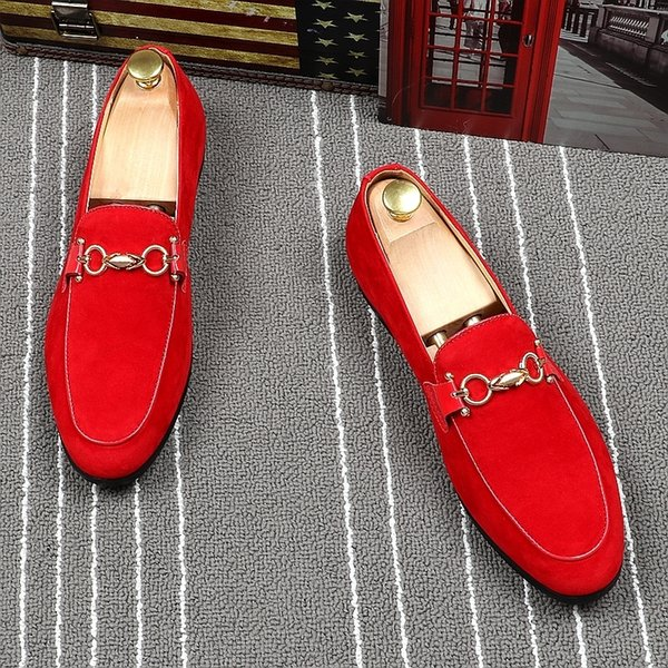 Memorable2019 Set Sharp Red Foot Male England Trend Hairstyle Division Small Leather Shoes Summer Ventilation Dawdler Doug Single Shoe