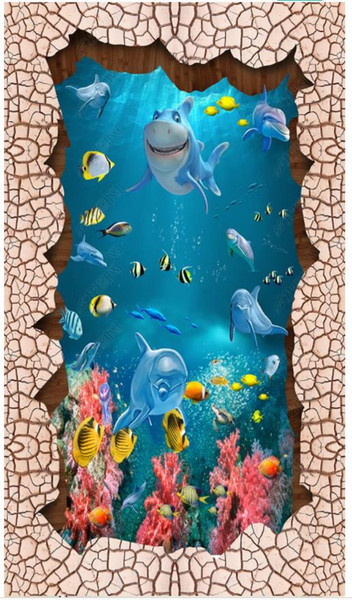 3D photo customized mural wallpaper PVC Self-adhesive waterproof flooring wall sticker Ring stone fish group 3D floor painting
