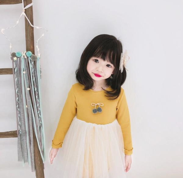 2019 yeni Kız ilkbahar ve sonbahar Bebek Çocuk Giyim Tekne Boyun elbise uzun kollu sevimli kız Batı prenses elbise kabarık örgü elbiseler