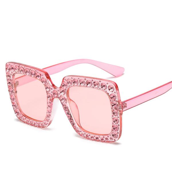 Fashion Street Style Women's Sunglasses Polarized Sun Glasses for Women Pink Square Sunglass with Rhinestone Shades Rhinestones