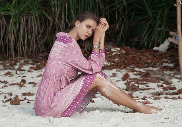 HISIMPLE 2019 Pink Floral Boho Women Dress Long Sleeve Elastic Waist Gypsy Plus Size Vintage Hippie Polo Neck Mini Shirt Dresses