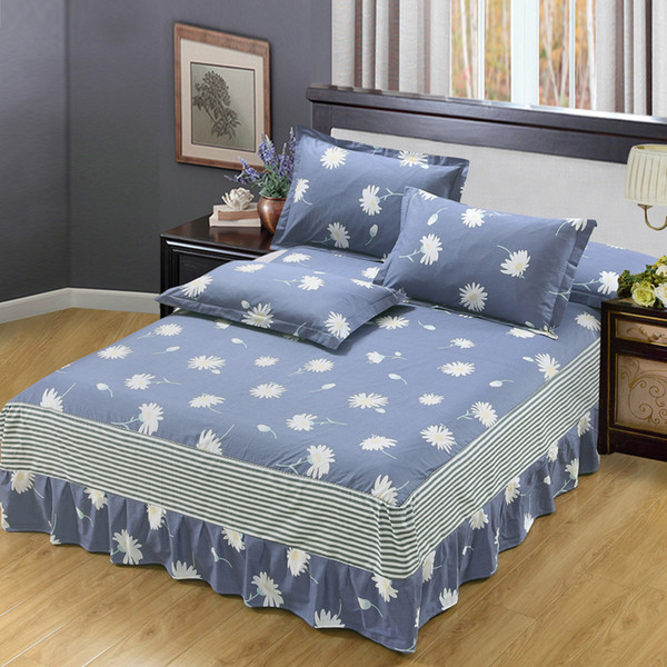 New butterfly love flowers print bedspread 100% cotton bed skirt bed flat fitted sheet bedding bed sets full queen king size