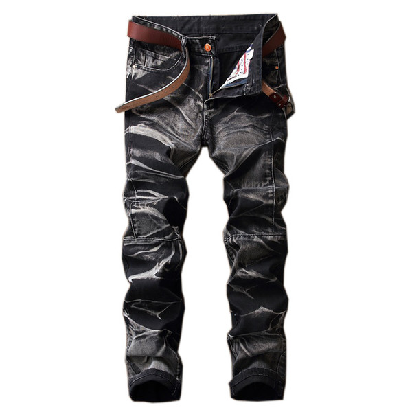 Men's designer jeans men's four-color fashion trousers Amazon old straight retro loose straight cowboy street casual pants