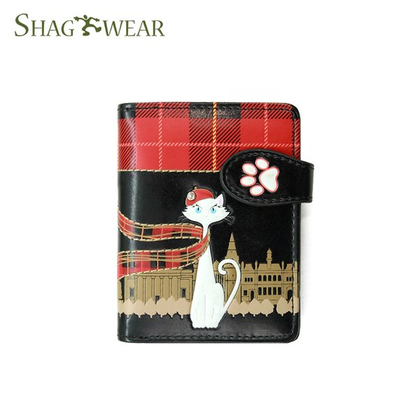 Shagwear Hand-made Portable Fashion travel Cat Designer Short Wallet With Coin Pocket Card Holder check holder Women Girls Gift Small Wallet