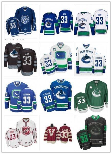 2019 Custom Any Name Number Vancouver Hockey Jersey Green 33 Henrik Sedin Men/WOMEN/ YOUTH Canuck Game Worn Hockey Jersey Shirt