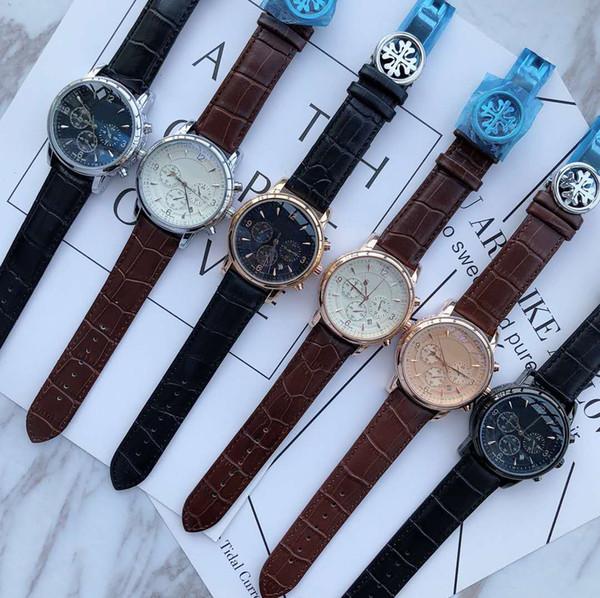 Luxe Femmes Mode Hommes cuir PP Tous Subdials travail Designer Hommes Boucle spéciale Montre-bracelet élégant Simple Montres Loisirs Montre