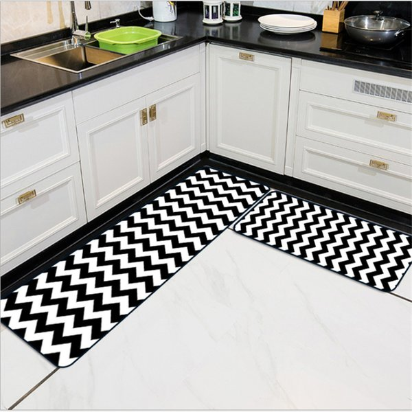 AOVOLL Simple Wavy Striped Kitchen Carpet Bedroom Rugs Kitchen Mats For  Floor Carpet Kids Room Waterproof Floor Mats Outdoor Replacement Cushions  ...