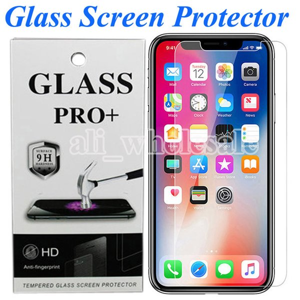 top popular HD Clear Tempered Glass Screen Protector Bubble Free Anti Scratch for iPhone XR 11 Pro Max X XS 8 Plus 7 6 6s Plus Moto G7 G6 Pixel 4 XL 2020