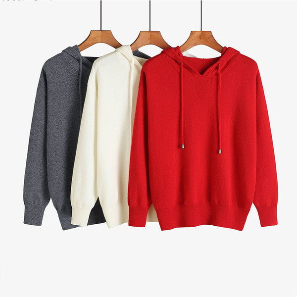 Hooded 100 pure cashmere sweater women Knitted Warm Fashion autumn and winter pullover shirt Long Sleeve Solid Color