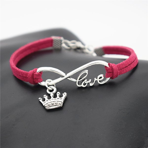 Fashion Alloy Infinity Love King Crown Pendant Charm Jewelry Rose Red Leather Suede Cuff bracelets & bangles for Women Men New Style