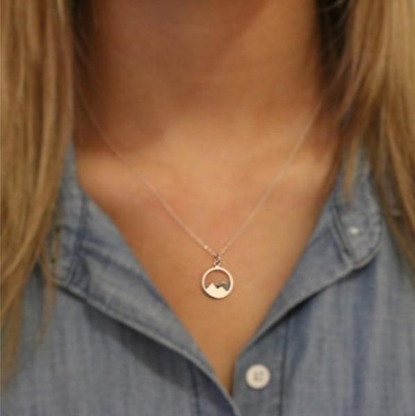 FUNIQUE Einfache Hals Schmuck Berg Halskette Women Collares Clavicleweinlesehalskette Goldkette Weibliche Halskette Boho Schmuck