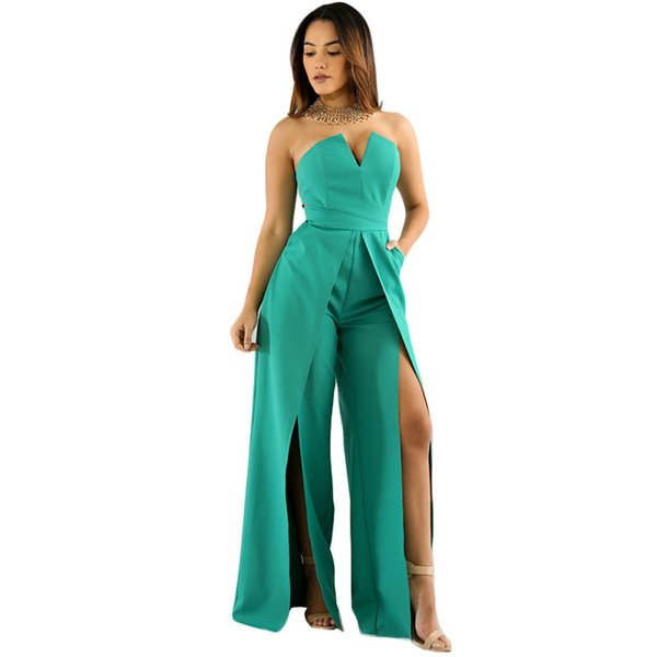 Fashion Sexy Nightclub Green Jumpsuit Women Bodycon Girls Romper Strapless Streetwear Slit Long Jumpsuits Backless Solid Slim
