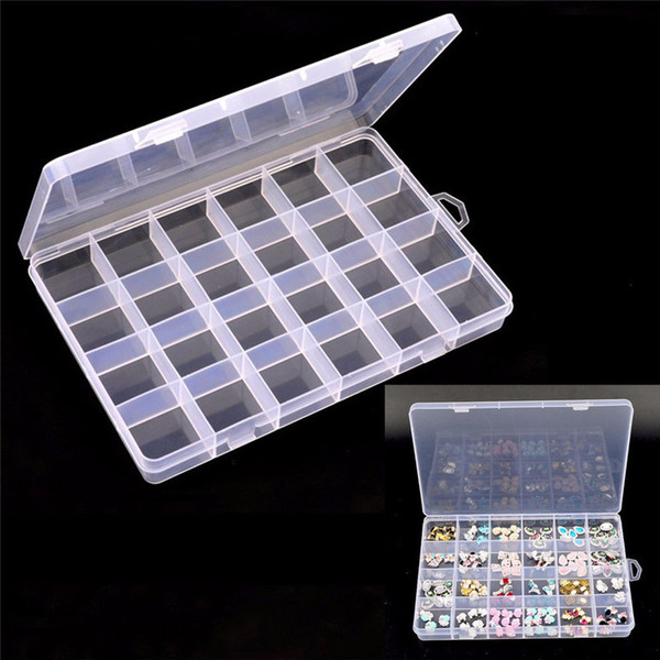 Transparent 24 Grids Nail Art Tips Rhinestones Decoration Container Pill Jewelry Empty Storage Case Box Organizer