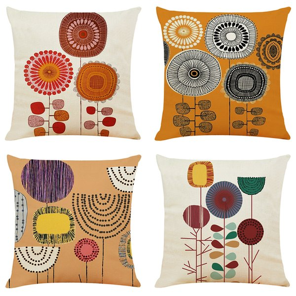 Color hand-painted elements cotton and linen car pillowcase sofa cushion household pillow