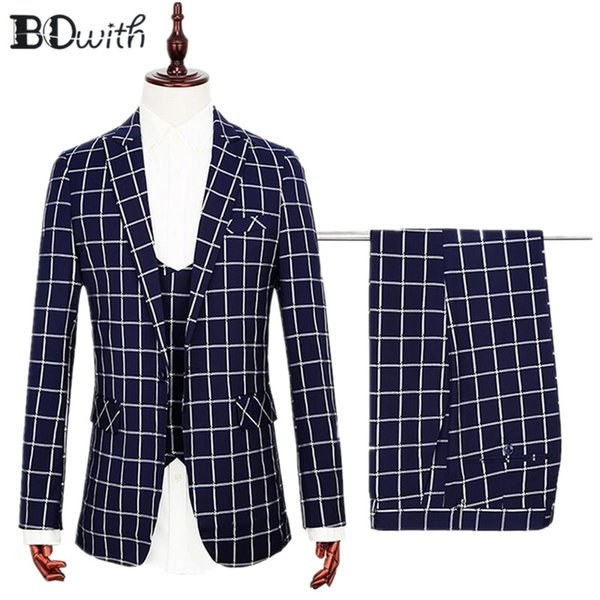 High Quality Plain Navy Wedding Men Suit Peaked Collar One Button 3 PCs Jacket+Pants+Vest for Wedding Groom Tuxedos Formal Suit