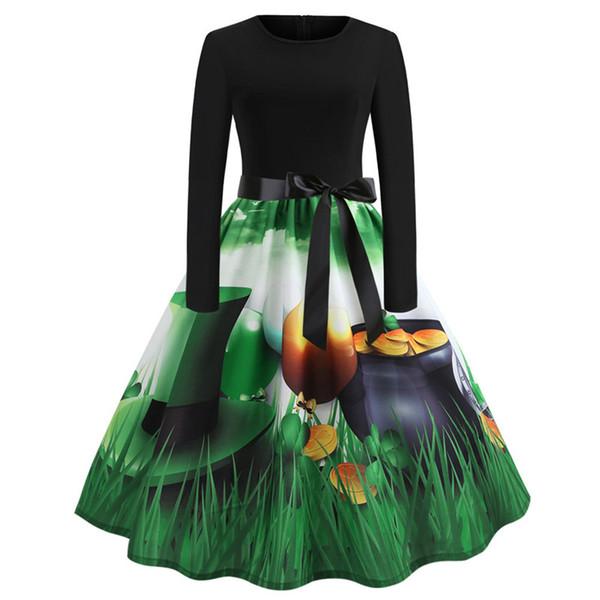 2019 St. Patrick's Day Dresses for Women Long Sleeve Shamrock Clover Dress Vintage Dress Women Clothes Saint Patrick Parades Irish 4 Styles