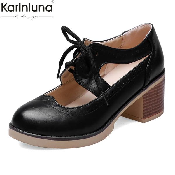 Compre Estilo Británico Zapatillas Clásicas Retro Zapatos Negros Zapatos De Mujer Tacones Gruesos Moda Mujer Dama Calzado Mujer A $41.87 Del Jadavu  