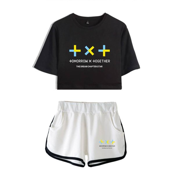 FRDUN Tomorrow X Together Summer Kpops Women Two Piece Set Shorts and T-shirts Clothes 2019 Hot Sale K-pops sets Plus Size