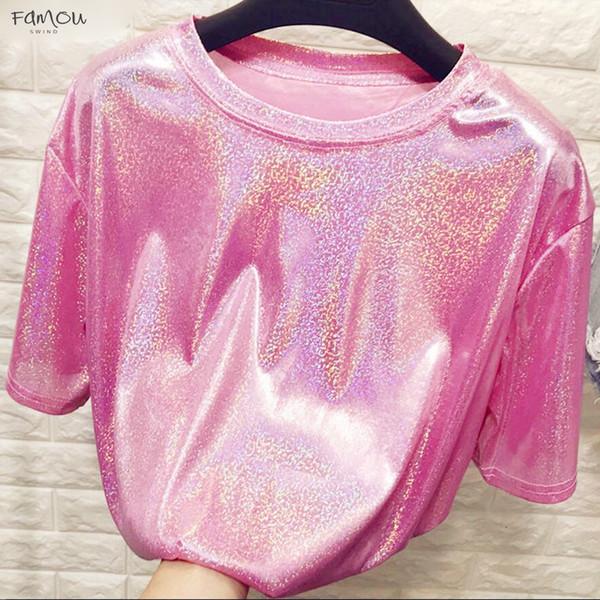 New Summer Style Stylish Bright Silk Woman Tops Shiny T-Shirt Loose Short Sleeve Kimono Sleeve Sexy Club Aesthetic Harajuku Tshirt