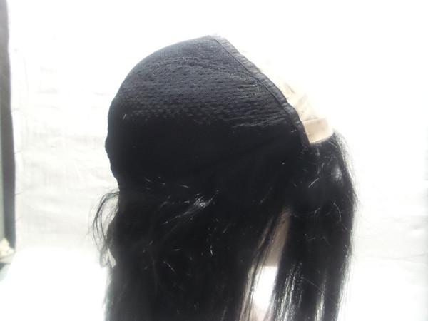 2020 Moda Lace peruca completa longo de seda Cabelo Liso Feminino Preto peruca Owl Humano Weave Densidade 150 Notre Dame com o Brasil, tecem uma peruca com