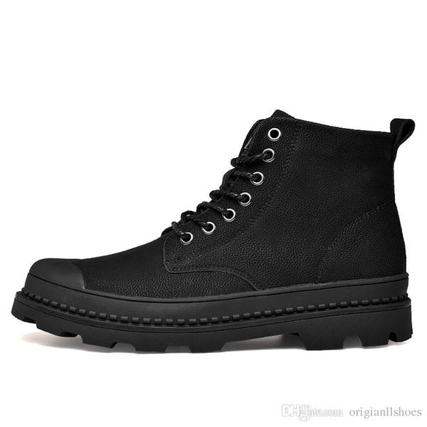 2018 Mens Inverno Ankle Boots de Couro Genuíno Moda Forrado Sapatos de Caminhada À Prova D 'Água Homens Botas de Neve Quente Preto Tamanho Grande motocicleta