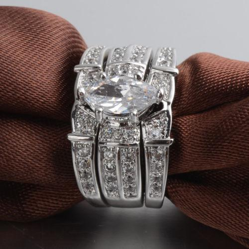Size 6/7/8/9/10 Fashion jewelry Nice Lover Marquise Cut Topaz 14KT White Gold Filled GF 3 rings Wedding Band Ring Set for love gift