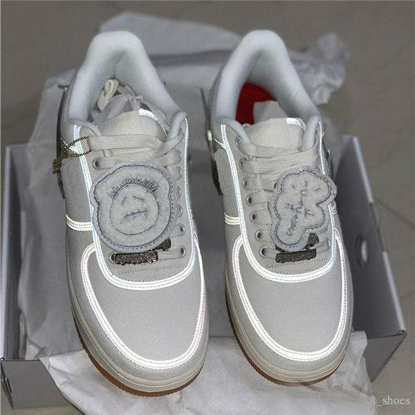 Hot Sale Forces Low 1 x TRAVIS SCOTT White Skateboard Running Shoes 3M Reflective Forced One Casual Sneakers