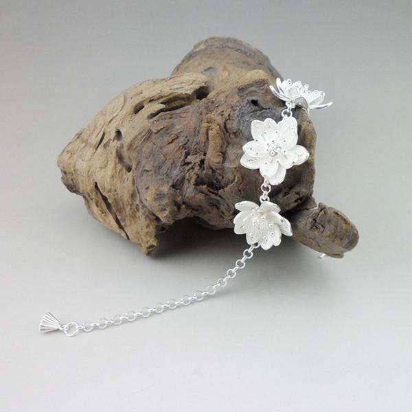 Dev Lotus Flower Bilezik Charms El Zinciri Bağlantı Çin El yapımı Takı Etnik Kadınlar Lüks 999 Gümüş Bileklik