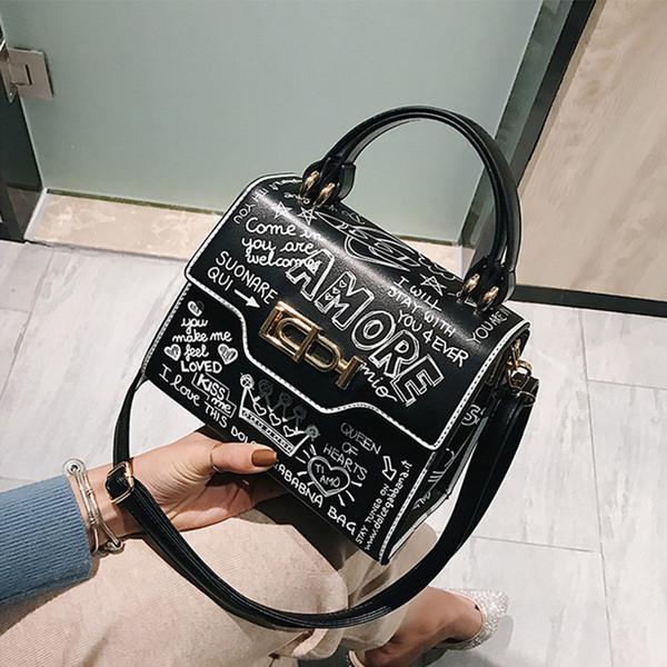De igner fa hion graffiti women handbag pu leather mall flap bag luxury cro body bag for women evening clutch pur e 2019