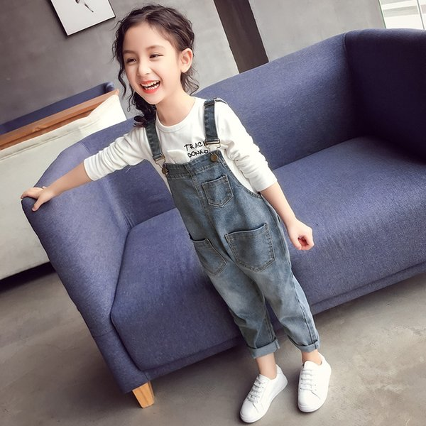 Baby Girls Overalls Autumn Denim Jumpsuit Korean Style Long Jeans Casual Washed Rompers Pocket Button Suspender Trousers Children Girl Jeans