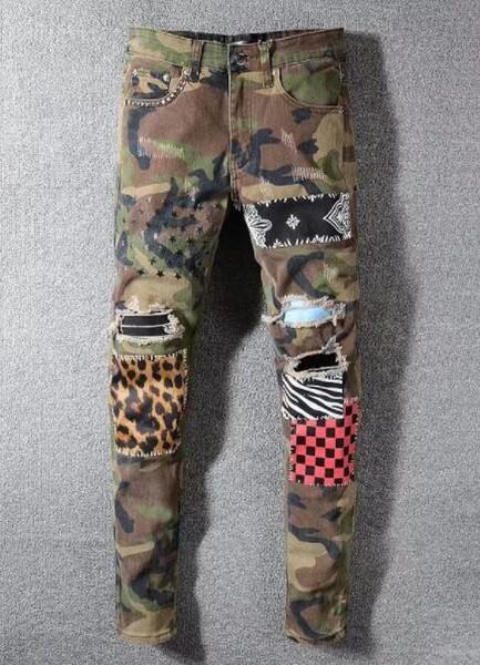 Moda uomo lavaggio ad acqua Dritto caldo Vendita Pantaloni causali Streetwear denim pantaloni pantaloni Camouflage jeans 3 colori