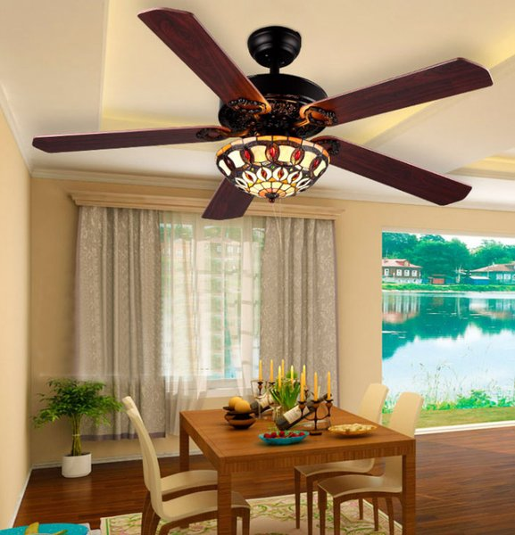 best selling glass shade 52 inch brown wood blades CEILING FANS lights Vintage Tiffany Stained Glass Flowers Downlight Ceiling Fans LLFA