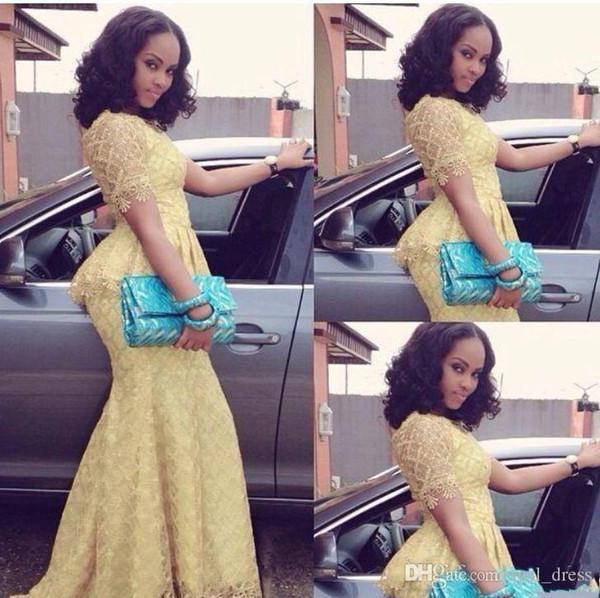 2018 африканский нигерийский стиль кружева вечерние платья ну вечеринку носить дешевые платья выпускного вечера русалка платья для особых случаев Abendkleider с короткими рукавами