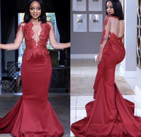 2019 New Dark Red Long Sleeve Prom Dresses Sheer Jewel Neck Sexy Backless Mermaid Formal Evening Occasion Party Gown Custom Made Hot Sale