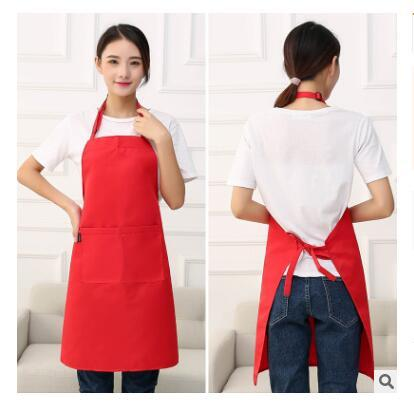 Kitchen Apron Fashion Women Men Pure Color 67x77cm Pockets Home House Kitchen Chef Butcher Restaurant Cooking Baking Apron Free Shipping
