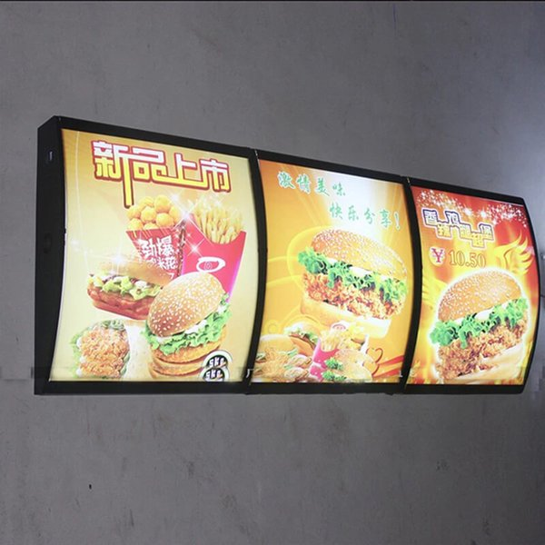 Quality LED Curved Menu Box Illuminated Board Sign Wall Mount with Protective Wooden Case Packing (W40 x H60 cm)