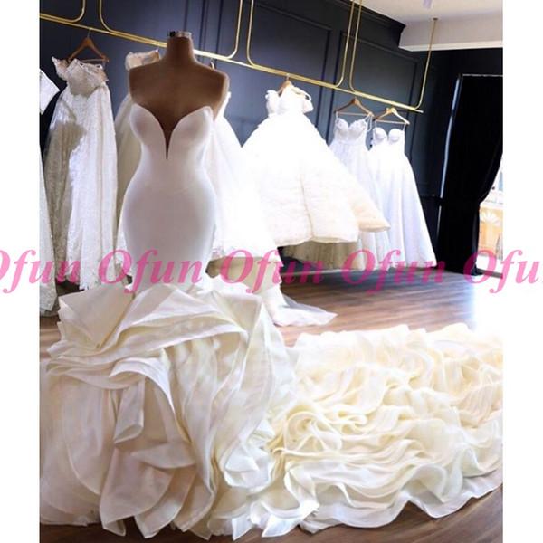 Moderno Africano Plus Size Querida Decote Sereia Vestido de Casamento Custom Made Cascading Babados Tribunal Trem De Cetim de Noiva Vestidos de Noiva