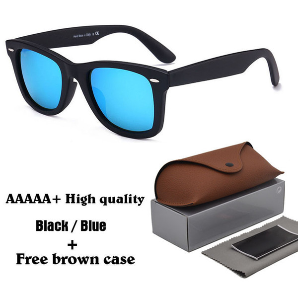 5A+ Excellent Quality unisex Sunglasses Plank Frame Metal hinge Glass lenses Fashion Men Sun glasses Women glasses with brown cases and box