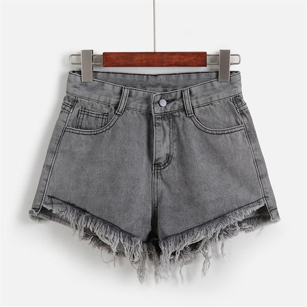 2019 New Summer Woman Vintage Denim Shorts Solid Fringed Slim Fit Pocket Jeans Shorts Girl Beach Seaside Hot Short Pants